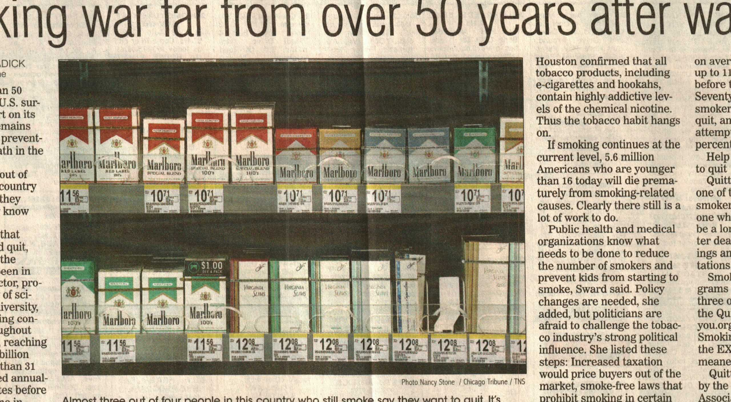 Battle against big tobacco image of cigarette high costs